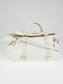 Miu Miu White Pebbled Leather Bow Top Handle Bag