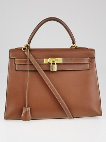 Hermes 32cm Vintage Gold Evergrain Leather Gold Plated Kelly Sellier Bag