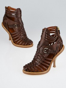 Givenchy Brown Leather Lattice Woven Sandals Size 6/36.5