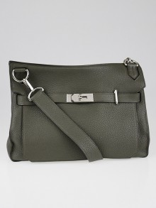 Hermes 34cm Olive Green Clemence Leather Palladium Plated Jypsiere Bag