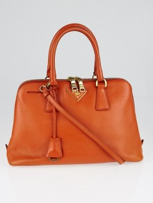 Prada Papaya Saffiano Lux Leather Top Handle Bag BL0837