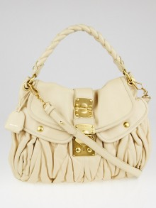 Miu Miu Beige Matelasse Nappa Leather Coffer Hobo Bag