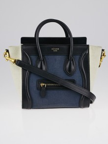 Celine Tri-Color Canvas and Leather Nano Luggage Tote Bag