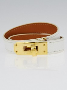 Hermes White Epsom Leather Gold Plated Kelly Double Tour Bracelet Size S