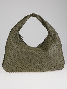 Bottega Veneta Elephant Intrecciato Woven Nappa Leather Large Veneta Hobo Bag