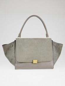 Celine Grey Crocodile Stamped Nubuck and Smooth Leather Large Trapeze Bag