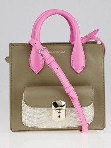 Balenciaga Taupe/Pink Calfskin Leather Padlock Mini All Afternoon Tote Bag