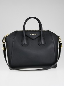 Givenchy Black Rubber Effect Medium Antigona Bag