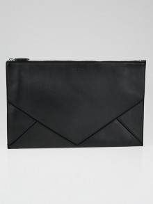 Givenchy Black Leather and Suede Flat Zip Pouch
