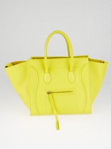 Celine Yellow Drummed Calfskin Leather Medium Phantom Luggage Tote Bag