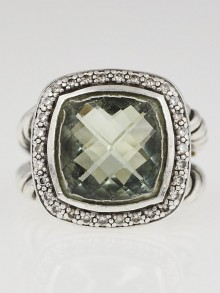 David Yurman 20mm Prasiolite and Diamond Albion Ring Size 7