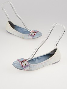 Louis Vuitton Blue Denim Monogram Denim Ballet Flats Size 8.5/39