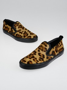 Gucci Leopard Print Calf Hair Slip On Sneakers Size 8.5/39