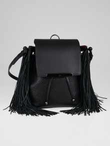 Christian Louboutin Black Pebbled Leather Fringe Lucky L Convertible Backpack Bag