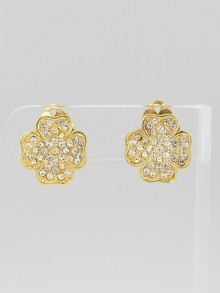 Chanel Goldtone Metal and Crystal Clover Clip-On Earrings