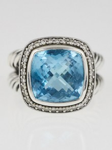 David Yurman 11mm Hampton Blue Topaz and Diamond Albion Ring Size 6