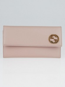 Gucci Pink Smooth Calfskin Leather Interlocking G Flap Wallet