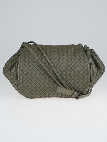 Bottega Veneta Grey Intrecciato Woven Nappa Leather Crossbody Messenger Bag