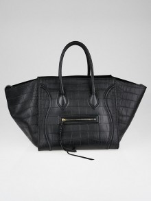 Celine Black Stamped Crocodile Embossed Leather Medium Phantom Luggage Tote Bag