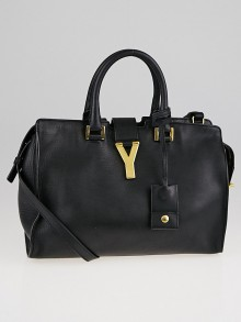Yves Saint Laurent Black Smooth Calfskin Leather Small Cabas ChYc Bag