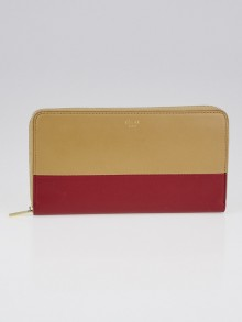 Celine Beige/Red Bicolor Lambskin Leather Large Zipped Multifunction Wallet