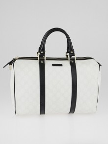 Gucci White/Black GG Coated Canvas Medium Joy Boston Bag