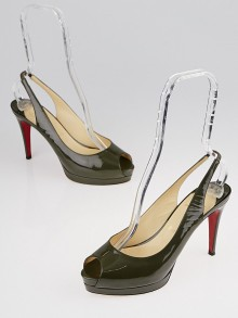 Christian Louboutin Grey Patent Leather Cathay 100 Pumps Size 7.5/38