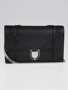 Christian Dior Black Grained Calfskin Leather Diorama Wallet on Chain Bag