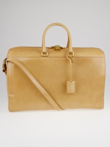Yves Saint Laurent Beige Calfskin Leather Classic Duffle 24 Bag