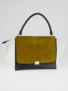 Celine Olive Tricolor Smooth Leather and Suede Large Trapeze Bag