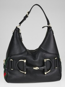 Gucci Black Pebbled Leather Large Heritage Horsebit Hobo Bag