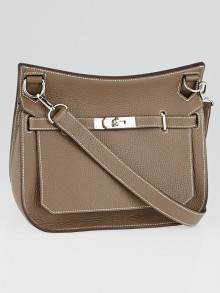 Hermes Etoupe Clemence Leather Palladium Plated Jypsiere Bag
