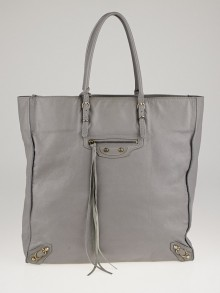 Balenciaga Grey Calfskin Leather Papier Ledger Tote Bag