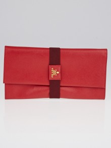 Prada Red Saffiano Leather Clutch Bag 1M1301