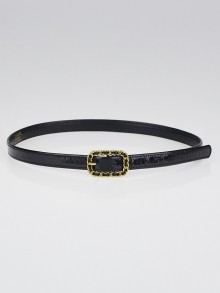 Chanel Black Patent Leather Narrow Belt