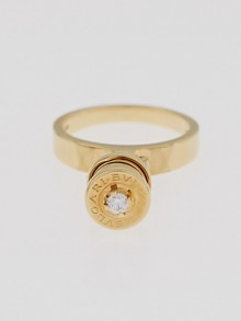 Bvlgari 18K Gold B.Zero1 and Diamond Charm Ring Size 5.75