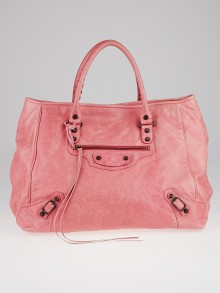 Balenciaga Sorbet Lambskin Leather Large Sunday Tote Bag