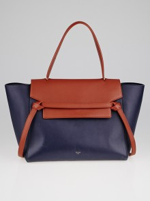 Celine Navy Blue and Brown Calfskin Leather Small Belt Bag