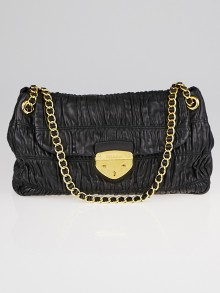 Prada Black Nappa Leather Gaufre Ruched Flap Shoulder Bag