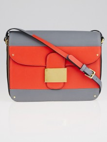 Valentino Red/Grey Leather Medium Rivet Bag