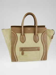 Celine Taupe Nubuck Leather Mini Luggage Tote Bag