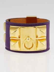 Hermes Iris Swift Leather Gold Plated Collier de Chien Bracelet Size S