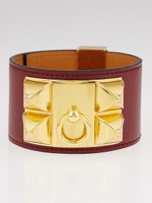 Hermes Rouge H Swift Leather Gold Plated Collier de Chien Bracelet Size L