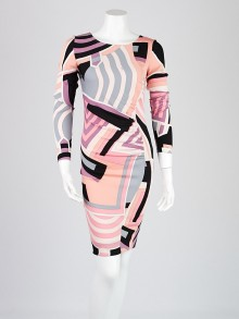 Emilio Pucci Pink/Black Print Silk Long Sleeve Dress Size 6