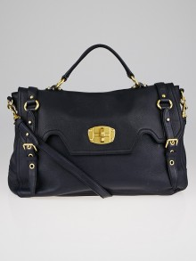 Miu Miu Blue Cervo Leather East/West Satchel Bag