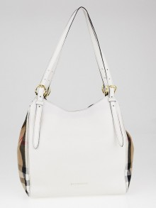 Burberry White Leather and House Check Canvas Small Canterbury Tote Bag