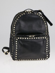 Valentino Black Nappa Leather Rockstud Medium Backpack Bag