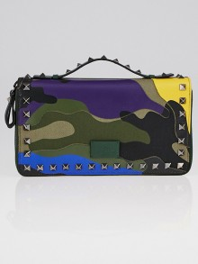 Valentino Green Camouflage Leather and Canvas Rockstud Travel Wallet
