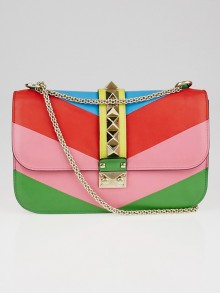 Valentino Multicolor Quilted Nappa Leather Glam Lock Flap Bag