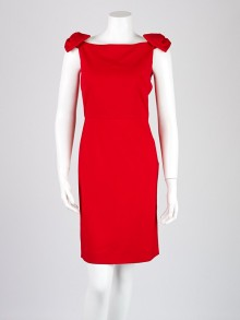 Valentino Red Viscose Blend Bow-Sleeve Dress Size 6/40